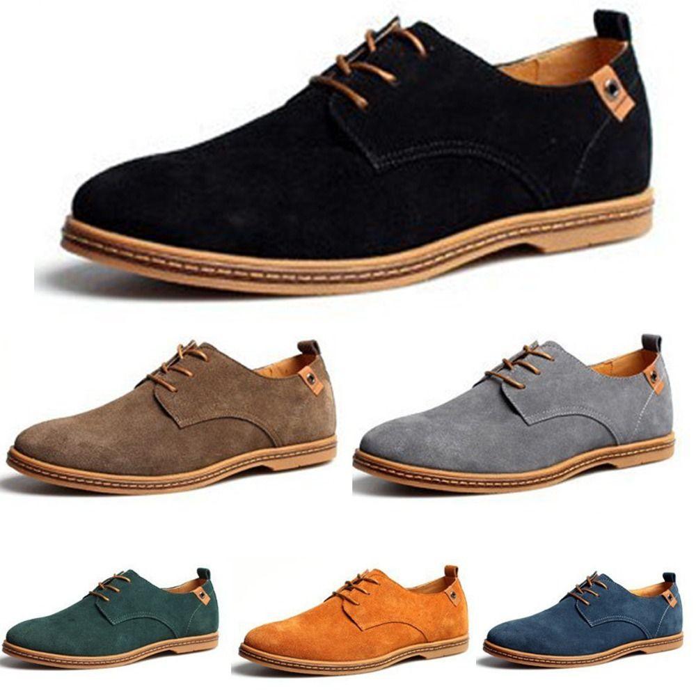 Compre Al Por Mayor Nuevos Zapatos Para Hombre Otoño Invierno Ala Punta  Cuero Genuino De Gamuza Con Cordones Sapatos Zapatos A  39.19 Del Freea  a8905cd4bca