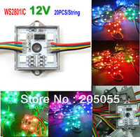 Wholesale-20pcs / stringa SPI programmabile WS2801 4 LED Pixel modulo String 4pcs 5050 RGB SMD impermeabile piazza DC12V 256Gray