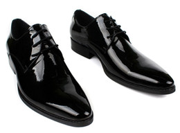China Wholesale-2015 spring new men's oxfords shoes high quality patent leather italian dress shoes pointed toe 2 color size:6.5-11 OX218 cheap italian shoes men new suppliers