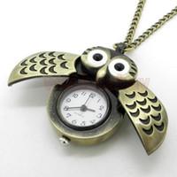 mujer búho reloj al por mayor-Al por mayor-Bronce Night Owl Hawk Collar colgante de cuarzo Steampunk cadena de reloj de bolsillo para hombres mujeres P27