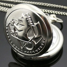 Wholesale Stainless Pocket Watches - Wholesale-New Silver Tone Fullmetal Alchemist Pocket Watch Cosplay Edward Elric with Chain Anime Boys Gift Wholesale P423