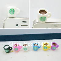 Wholesale Dust Plugs For I Phones - Wholesale-Starbucks cup Dust Plug for i phone 3.5mm earphone jack plug cell phone accessories mixed colors CYY054