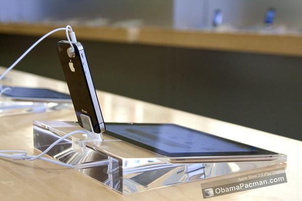 Soporte de exhibición de la seguridad al por mayor-Acrílico para Ipad + Iphone / Ipod Crystal Iphone y Ipad Security Display Dock unit