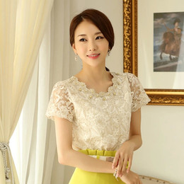Wholesale Short Sleeve Crochet Top - Wholesale-SALE New Elegant Ladies Crochet Lace And Beading Short Sleeve Blouses Office Womens Tops Fashion 2015 Summer Formal Shirts 880
