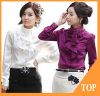 Wholesale Office Blouses Collars - Wholesale-Promotional Blouese Fashion Women Dress Shirt Designed Office Lady Tops Long Sleeve Blouses Spring Ruffled Collar Casual Wear