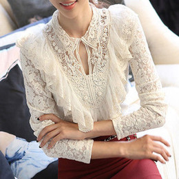 Wholesale-New 2015 Free shipping Spring summer women Lace blouse chiffon shirt large size Hook flower Lady hollow out casual base S~3XL