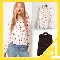 Wholesale Blouse Lips - Wholesale-Hot Sale 2015 New Fashion Women's Red Lip Print Chiffon Shirt, Long Sleeve Blouse Elegant Casual Brand Design S M L Y6045