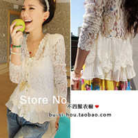 Wholesale Padded Puffed Shoulders - Wholesale-Lace Blusas Women Thin Shoulder Pads Hollow Lace Cardigan Jacket See Through Blouses Shirt 139