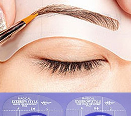 Wholesale Cheap Stencils - Wholesale-2015 hot sale cheap 3 Styles Grooming Stencil Kit Shaping DIY Beauty Eyebrow Template Make Up Tool for nice women girls