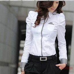 Wholesale Korean Career Shirt - Wholesale-Korean Style Women's Blouses Long Sleeve Slim fit Female Shirts for Office Ladies Work Career Tops Plus Size White colors