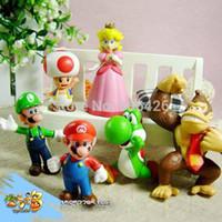 süper mario bros figür seti toptan satış-Wholesale-6pcs / lot Rakamlar Süper Mario Bros yapı taşları setleri Tuğla klasik çocuk oyuncakları Ile bebek oyuncakları için çocuk oyuncak