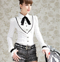 Wholesale long sleeve womens work elegant - Wholesale-Hot Sale Spring Autumn 2015 European Fashion Elegant Womens White Long Sleeve Shirt With Bow Tie Women Work Wear Free Shipping