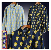 Wholesale Bart Simpson S Head - Wholesale-SALE!!High quality women men Cartoon Portrait Head Bart Simpson loose long sleeve denim Jean shirt top plus size