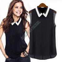 Wholesale Embellished Blouse - Wholesale-2015 New Korea blouses Women summer Plus Size Lady Rhinestone Embellished Collar Sleeveless Chiffon Tops Shirt b11 SV001845