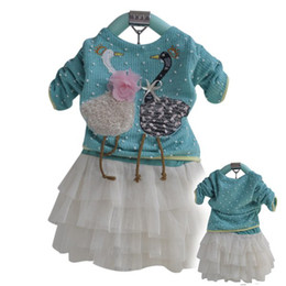 Wholesale Lace Skirt Cake For Girls - Wholesale-wholesale 3sets lot fashion baby toddler girl's design sweater t-shirt+lace cake skirt clothes set for autumn or spring