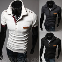 Wholesale Cheap Men Clothes Plus Sizes - Wholesale-Brand Short Sleeve Cotton Pocket Patch Polo Shirt Cheap Fitness Male Clothing New Fashion Plus Size Men Polos Shirts C21601T02