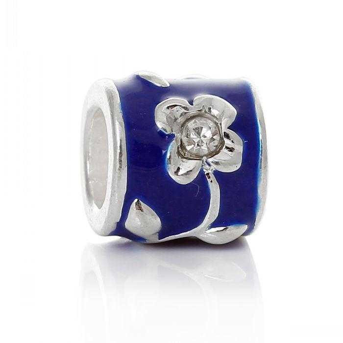 European Charm Beads Cylinder/Column Silver Plated Flower Carved Enamel Blue Clear Rhinestone 9x8mm,Hole:5mm,10PCs 8seasons
