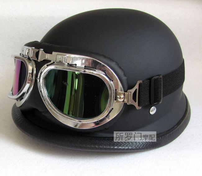 Wholesale-NEWWWII Style BLACK German capacete Motorcycle helmet Half Helmet Chopper Biker Pilot Goggles NEW, IN STOCK,