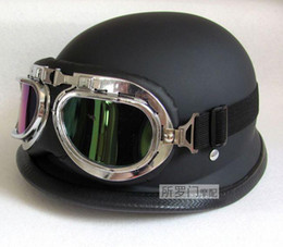 Wholesale Helmet Motorcycle Bikers - Wholesale-NEWWWII Style BLACK German capacete Motorcycle helmet Half Helmet Chopper Biker Pilot Goggles NEW, IN STOCK,