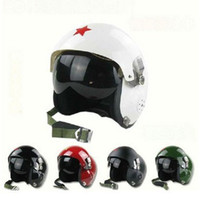 Wholesale Motorcycles Helmet Jet - Wholesale-New Red Star Tactical Jet Pilot Open Face Motorcycle Motorcross Racing Crash Helmet Visor