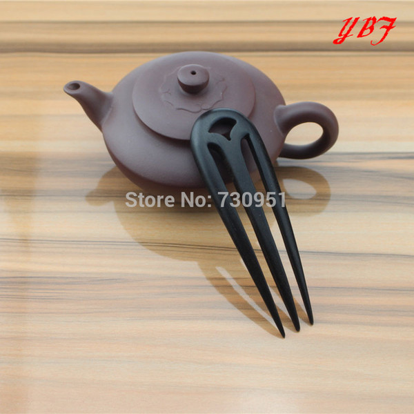 Wholesale-2015 fashion Pure handmade Three pin hairpin Whole wood ebony hair pins for girls items girl jewelry cute styling tools