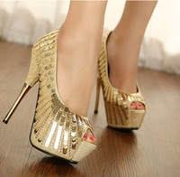 Wholesale Womens Glitter Sandals - Wholesale-New Arrival Womens Gold Glitter High Heel Sandals Open Toe scale Wedding Party Shoes Black&Yellow X019 DROP SHIPPING