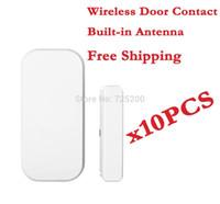 janelas de portas de construção venda por atacado-Atacado-sem fio alarme porta / janela sensor de contato detector 433 mhz para sistema de alarme em casa, built-in antena, 10 pçs / lote, frete grátis