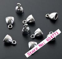 Wholesale End Caps Tibetan - Wholesale-120Pcs Tibetan Silver Zinc Alloy Cup Cord End Cap Stopper 10x13mm 0135