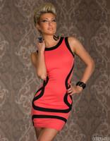 Wholesale Prom Dreeses - M XXL Sexy Dresses Fashion sexy underwear basic stripe sleeveless prom laciness sexy hip slim one-piece dress club dreeses#D07