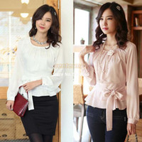 Wholesale Ladies Long Sleeve Silk Blouses - Wholesale-New Arrival Women's Career Ruffled Hem Long Sleeve Chiffon Blouse Silk Office Lady Tops clothing Plus Size Blouses B16 SV00