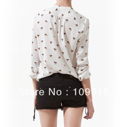 Wholesale Chiffon Dog Print Blouse - Wholesale-Free Shipping Chiffon Womens Dog Printed V-neck Long Sleeve Career Button Shirt Blouse Tops CY0436