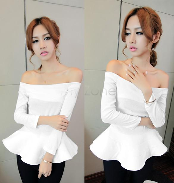 Wholesale-4 Color Hot Fashion Lady Boat Neck off shoulder Long Sleeve Solid Color Cotton Tops Peplum Shirt Blouse b19 18818