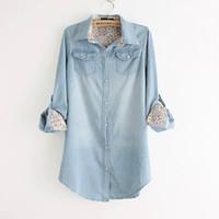 Wholesale Lady Jeans Print - Wholesale-PLUS SIZE Denim Shirt Blouse top camisas Jeans female Print long sleeve blusas femininas ladies female women autumn winter 2015