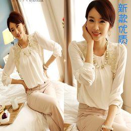 Atacado-Mulheres manga comprida bordado Chiffon Casual Blusa Top elegante lady White lace doce solto Camisa O pescoço Pullover Vestuário S-XL de