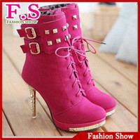 Wholesale Black Diamond Ankle Boots - Wholesale-Fashion High Heel Ankle Boots Sexy Red Sole Rivets Women Shoes Buckle Diamond Heels Platform Boots AB146 Ladies Dress Boots