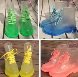 Wholesale Clear Colorful Boots - Wholesale-2015 PVC Transparent Women Gum Rain Boots Shoes Colorful Clear Flats Gumboots with Heels Water Shoes clear jelly boots Gumshoes