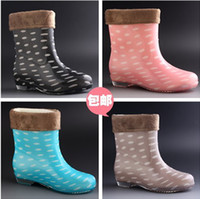 Wholesale Dot Rain Boots Women - Wholesale-Free shipping Cheapest New Women's galoshes Cute dot Rain Boots Rubber Flat Heel Ankle Rainboots Fashion galoshes rainshoes