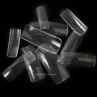 Wholesale Half Natural Nail Tips - Wholesale-500 Pro Clear Half Well False Acrylic Nail Art Tips fake nail artificial nails K47