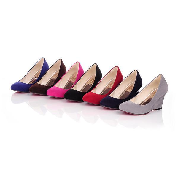 Bombas de las mujeres al por mayor de moda bombas de imitación de gamuza alta cuña talones zapatos de punta redonda de las señoras US 4-10.5 / EU 34-43 s012