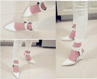 Wholesale T Strap Heel Closed Toe - Wholesale-2015 real direct selling t-strap rubber closed toe yes fashion womens heels faux-suede pumps pointed close toe wedges low shoes