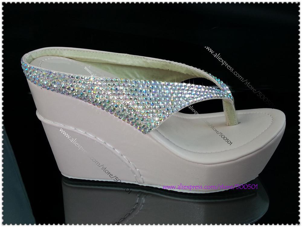 bab0993be5a51 Wholesale-Crystal Wedge Flip Flops High Heel Flip Flops Glitter Crystal Wedding  Bridal Open Toe Platform Wedges Sandals High Heel Online with  300.42 Piece  ...
