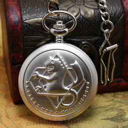 watches anime 2019 - Wholesale-New Silver Case Fullmetal Alchemist Pocket Watch Cosplay Edward Elric with Big Chain Anime boys Gift wholesale