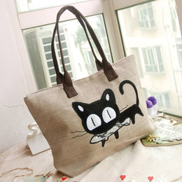 Wholesale Top Shop For Wholesale - Wholesale- bolsa top medium(30-50cm) cover new 2015 women handbag woven canvas bag cute for cat cartoon shopping office lunch freeshipping