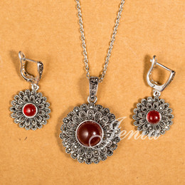 Wholesale Thai Pendants - New Fashion Design Red Stone Round Pendant and Earrings Sets Thai Silver Marcasite Jewelry Set FREE SHIPPING (Jenia XS117)
