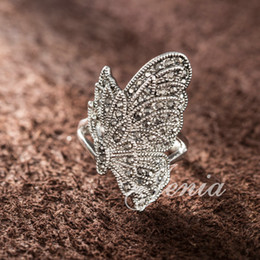 Wholesale Rings Marcasite - Top Quality Vintage New Style Thai Silver Marcasite Paved Animal Butterfly Ring For Women FREE SHIPPING (Jenia XR180)