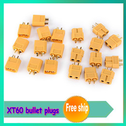 Wholesale Helicopter Bullet - Wholesale-10pair lot XT60 bullet Connectors plugs Male Female RC lipo +free shipping