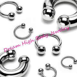 Wholesale Circular Barbell Piercing - Wholesale-Horseshoe 316L stainless steel Body Piercing Jewelry Curved Circular Barbell Ball Horse Shoe 16G Eyebrow Ring Bar Various Sizes