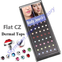 Wholesale Wholesale Case Piercing - Wholesale-Skymoon Free Shipping 40pcs Case 316L Stainless Steel Dermal Top Dermal Anchor Piercing Jewelry