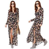 Wholesale Chiffion Maxi Dress - Wholesale-Ladies Deep V Neck Front High Split Floral Boho Long Sleeve Maxi Dress Chiffion