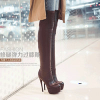 Wholesale Sexy Wedged Heels - Wholesale-Free Shipping Sexy Ultra High Heels Boots Over-The-Knee 25pt Thin Heels Platform Soft Leather Martin Boots Plus Size 44 45 46